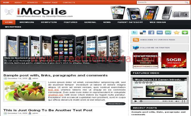 Free Red White Mobiles WordPress Theme Template