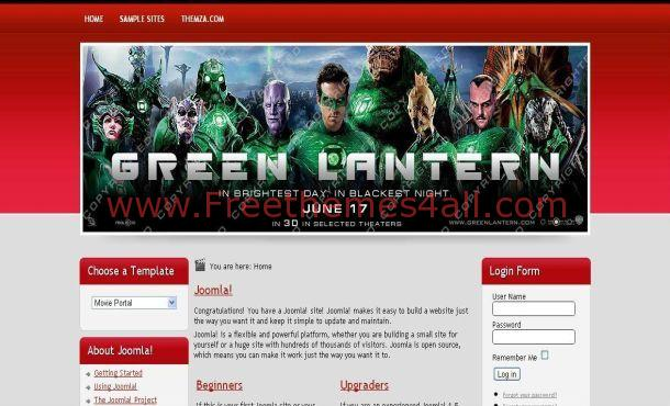 Red Movies Free Joomla Template