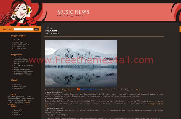 Dark Grey Pink Music Free Blogger Theme Template
