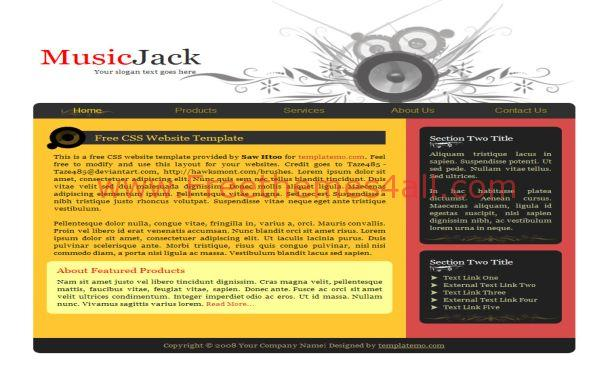 Free Black Yellow Music CSS Website Template