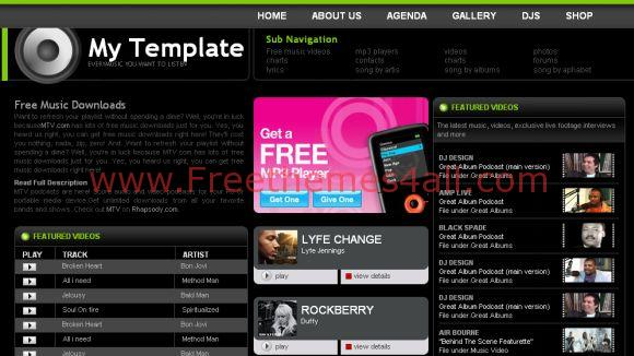 Free Web Template Music Show Website Template