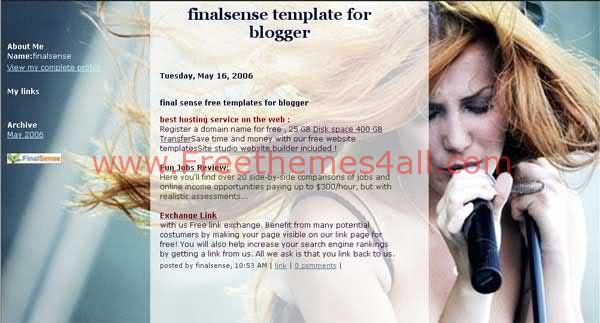 Free Blogger Sexy Singer Blog Web2.0 Template