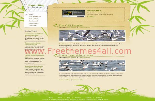 Free CSS Floral Nature Green HTML Website Template