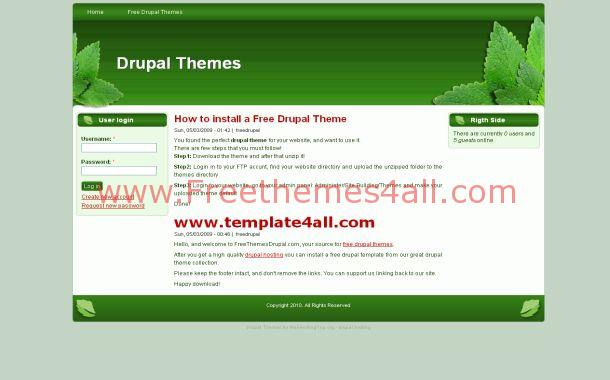 Green Nature Free Drupal 6 Theme