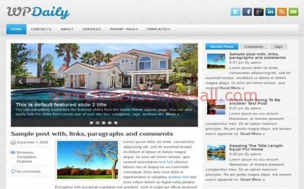 Free Jquery News Chrome Blue WordPress Theme