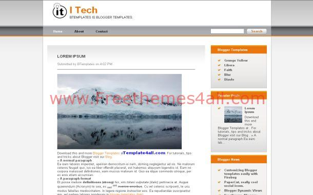 IT Orange Chrome Free Blogger Theme