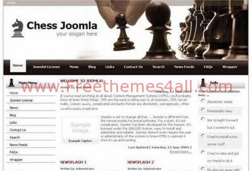 Free Joomla Chess Mate Games Web2.0 Theme Template