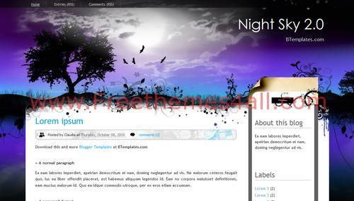 Free Blogger night sky Web2.0 Template