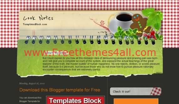 Cook Pink Green Blogger Template