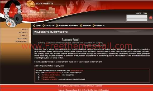 Free CSS Music Studio Black Website Template