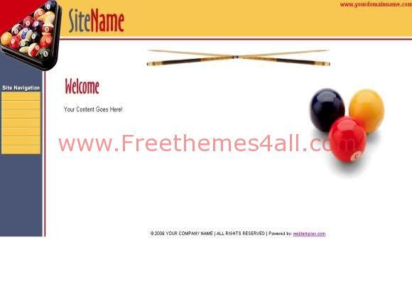 Free Web Template Billard Club Template