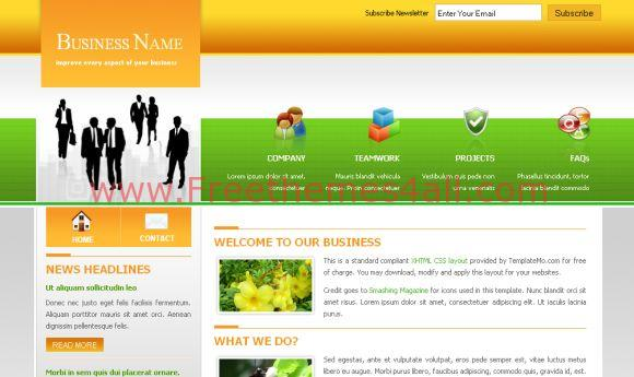 Free Green Business Orange HTML Template