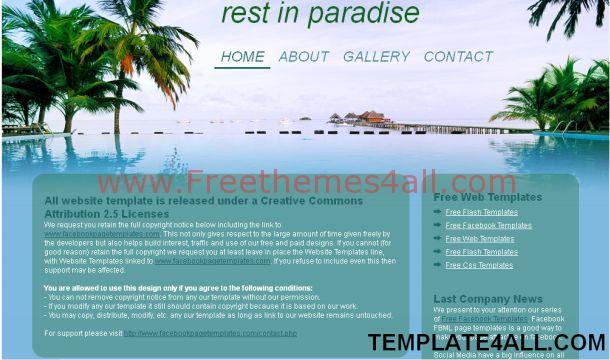 Free Blue Beach Travel Website Template