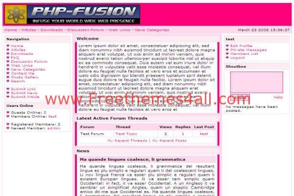 Free php-fusion Pink Valentine Web2.0 Theme Template