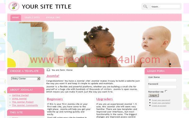 Pink Joomla Templates Free Jquery Babies Pink Joomla Theme Template - Freethemes4all