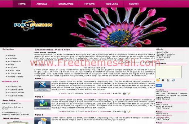 Free Phpfusion Pink Black Floral Theme Template