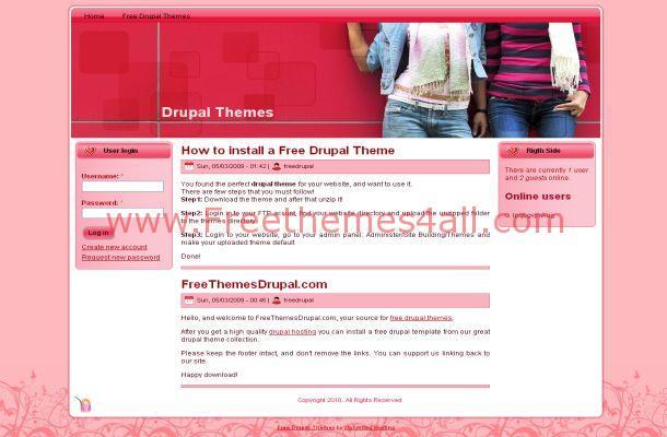 Free Drupal Floral Pink Fashion Theme Template