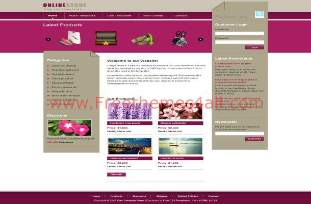 Pink Gadgets Store Free Jquery CSS Website Template