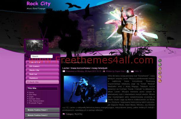 Pink Rock Music Joomla Flash Theme