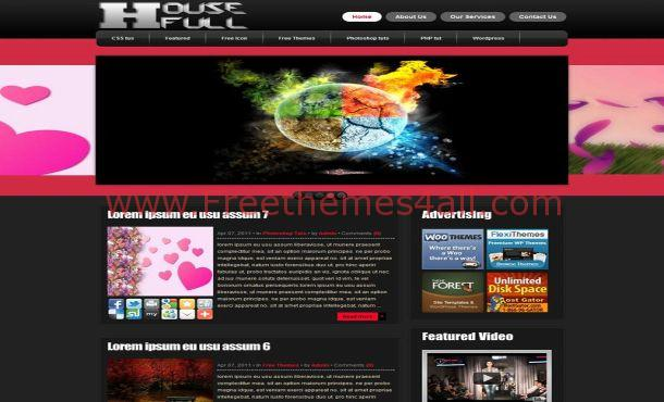 Dark Black Pink Free WordPress Theme Template