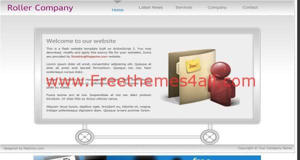Free Flash Grey silver Roller Company Web2.0 Template