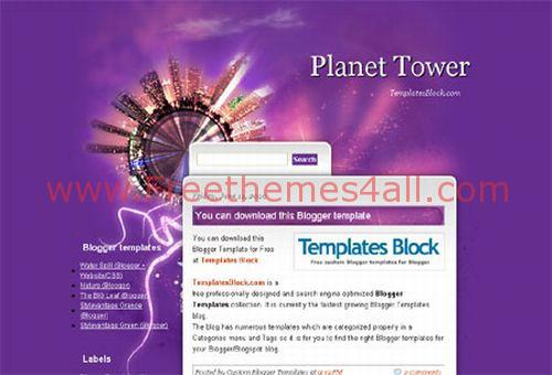 Free Violet Planet Travel Web2.0 Blogger Template