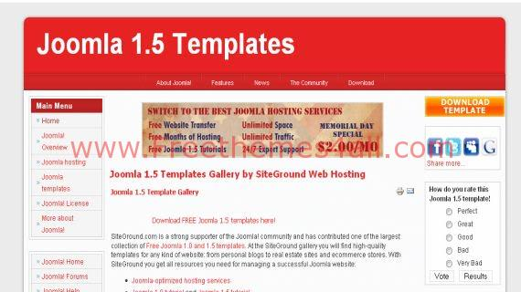 Free Joomla Personal Red White Web2.0 Template