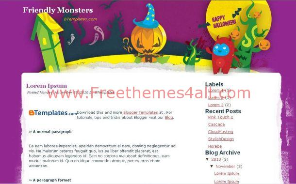 Free Purple Halloween Christmas Blogger Template