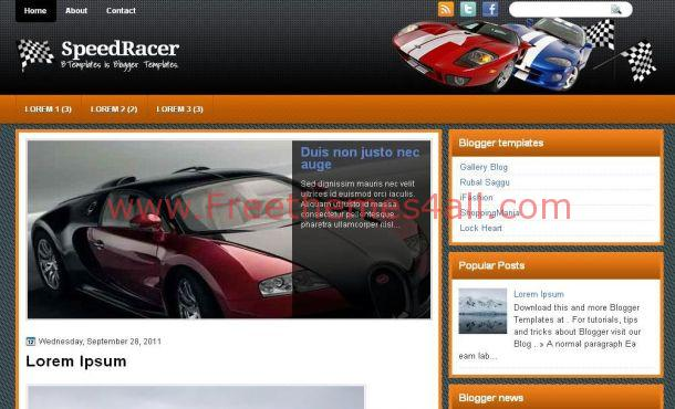 Free Jquery Cars Racing Orange Blogger Template