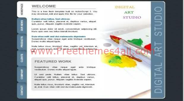 Free Flash Digital Art Studio Blue Website Template