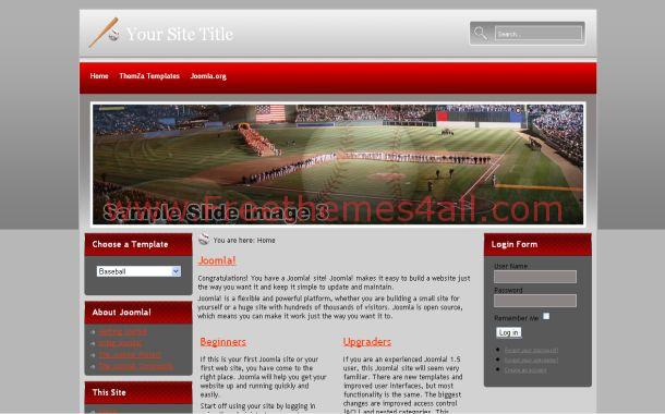 Free Red Gray Baseball Joomla Theme Template