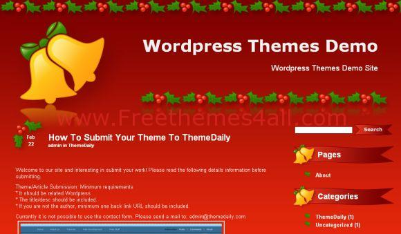 Free WordPress Dark Red Christmas Theme