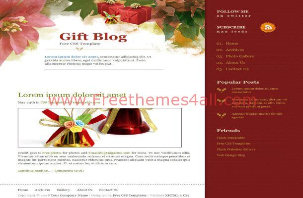 Christmas Gifts Red CSS HTML Website Template