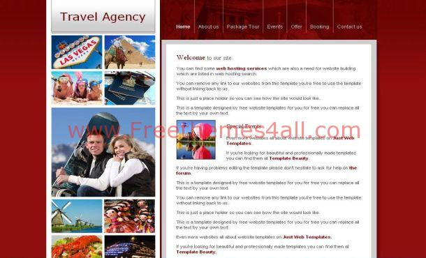 Free Red Travel Company CSS Website Template