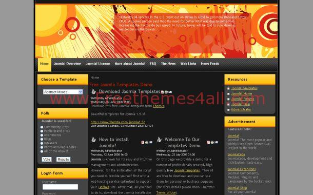 Retro Black Orange Joomla Theme