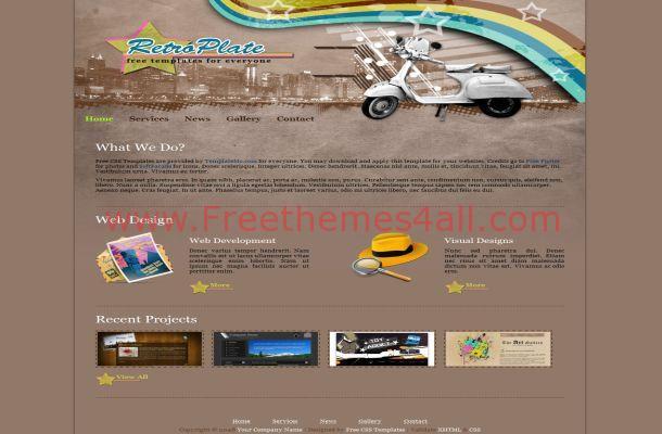 Retro Vectors Brown Free HTML Website Template