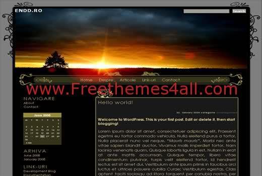Free WordPress Sunset Black Travel Theme