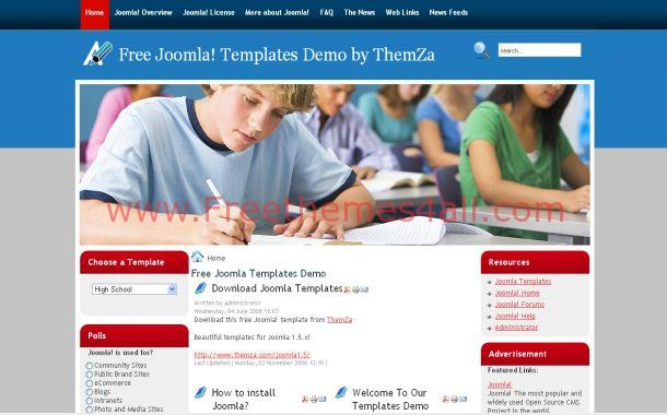 School Red Blue Free Joomla 1.6 Theme Template