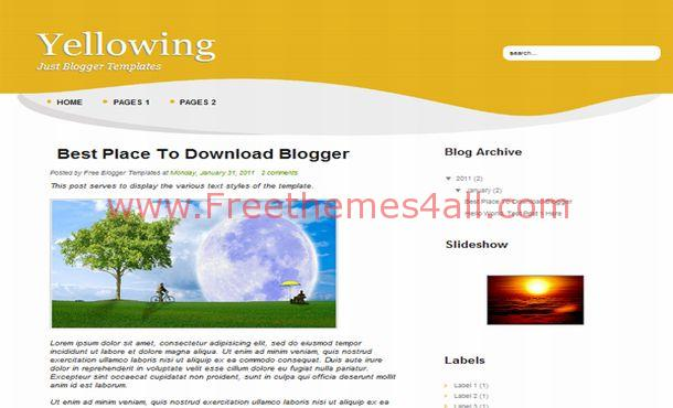 Business Gray Yellow Free Blogger Template