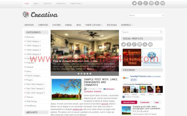 Crative Business Silver Free WordPress Theme Template