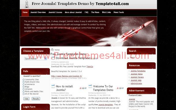 Black Red Space Free Joomla Theme