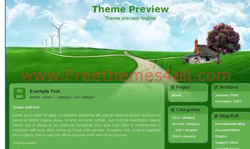 Free WordPress Nature Green Theme Template