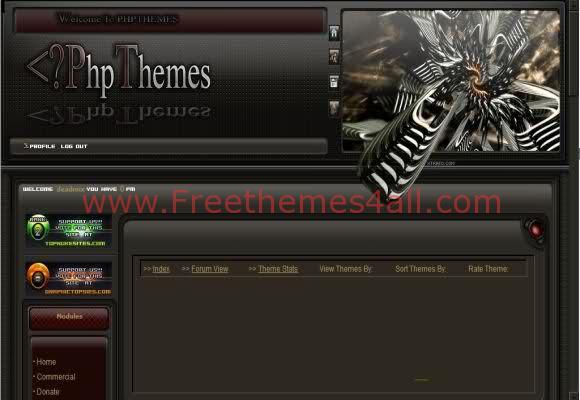Free phpnuke Space Dark Black Web2.0 Theme Template
