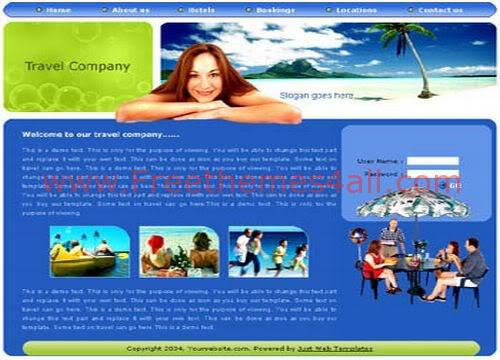Free HTML Beach Travel Holidays Web Template