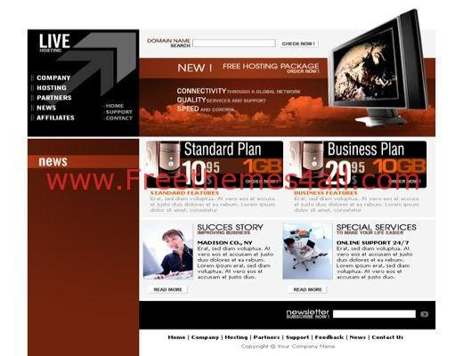 Free Web Hosting company Red Web2.0 Template