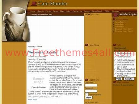 Free Joomla Coffee Yellow Cake Theme Template
