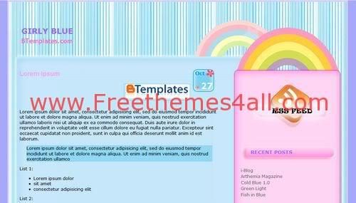 Free Blogger Girly Pink Blue Template