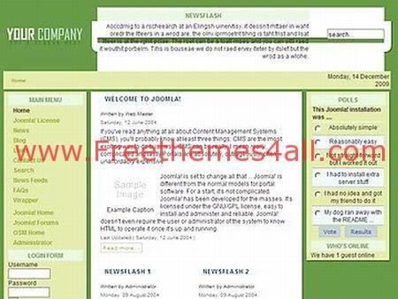 Free Joomla Opensource Light Green Template