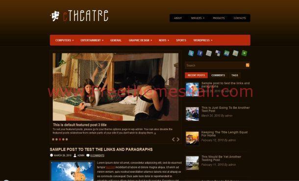 Dark Brown Theater Wordpress Theme Download