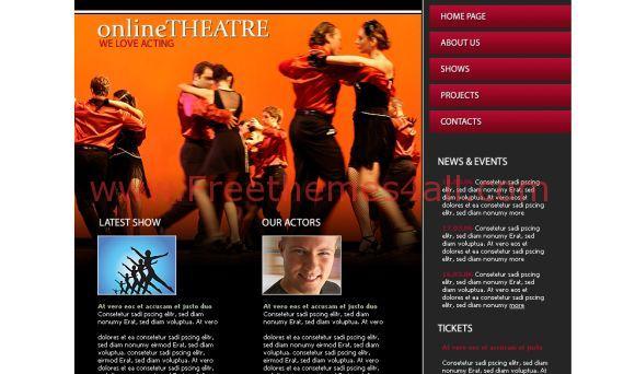 Free HTML Orange Online Theatre Web2.0 Template